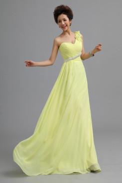 One Shoulder Chiffon Prom Dresses Yellow Under 100 nm-0171