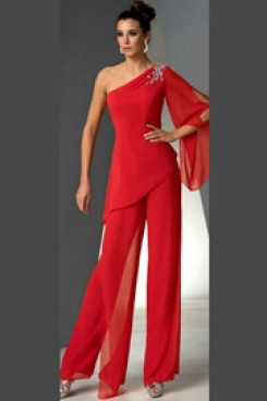 One Shoulder Mother of the bride pant suits dresses Red chiffon pants outfit nmo-504