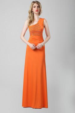 New Arrival Orange One Shoulder Oblique band Popular Prom Dresses np-0296