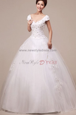 paillette Organza Satin V-neck Ball Gown Elegant Floor-Length Gorgeous Lace Up Court Train Wedding dresses nw-0098