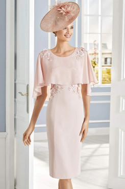 Pearl Pink Chiffon Poncho Mother of the Bride Dress wps-241