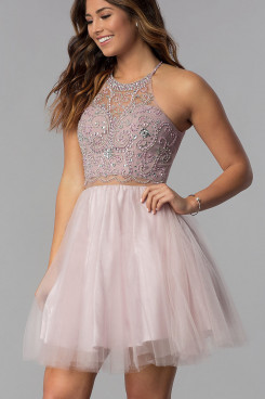 Pearl Pink Mini Graduation Dresses, Bean Paste Gorgeous Homecoming Dress sd-026