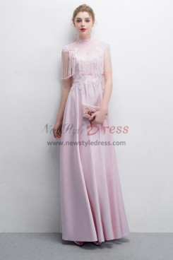 Pink Charmeuse Prom dresses With Hand Beaded Tassel
