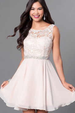 Pink Chiffon Graduation Dress, Short Party Dress with Glass Drill Belt sd-030-3