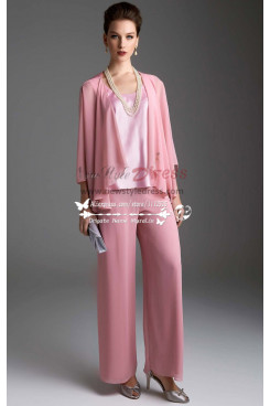 Pink chiffon women's outfits Lovely with jacket trouser suit for wedding