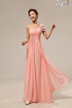 Cheap pink Portait Chiffon long Crystal Prom Dresses np-0258