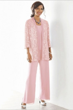 Pink Mother of the bride pant suits Elastic waist Trousers suit nmo-537