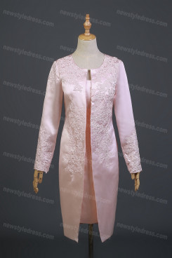 Pink Satin Scoop Mother Of The Bride Dress,Knee-Length Mother Of The Bride Outfits With Jacket nmo-739