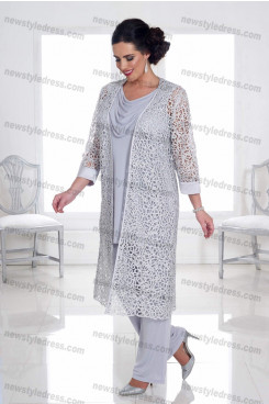 Plus size 3 PC Gray lace Mother of the bride pants suits with jacket Trousers Women's outfits nmo-681