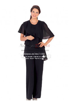 Plus size black  cozy chiffon dresses for wedding mother of the bride pant suits