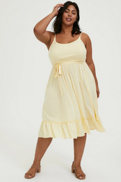Plus Size Daffodil Mid-Calf Women's Dresses, Spaghetti Mother Of The Bride Dresses nmo-706