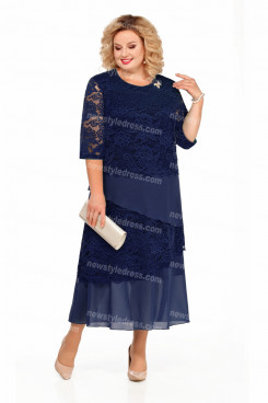 Plus Size Dark Navy Ankle-Length Mother Of The Bride Dresses With Half Sleeves nmo-729-6