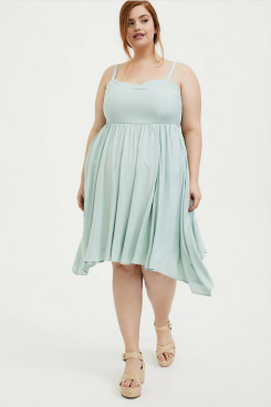 Plus Size Empire Women's Dresses, Knee-Length Jade Blue Summer Dresses nmo-712