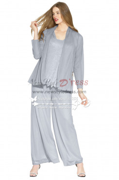 Plus size Gray beaded chiffon mother of the bride pant suits outfit nmo-256
