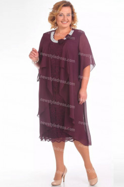 Plus Size Hand Pearl Neck Mother Of The Bride Dress Burgundy Women's Dresses nmo-726-2