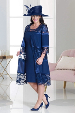 Plus size Mother of the bride dress Navy women's outfits NMO-636