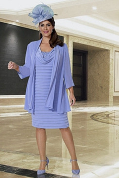 Plus size Mother of the bride dress with chiffon jacket Blue NMO-638