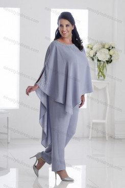 Plus size Mother of the bride pants suits Gray Asymmetry women's outfits nmo-696