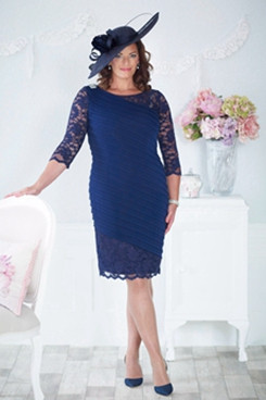 Plus Size Overall creases Elegant Navy chiffon Knee-Length Mother of the bride dress NMO-639
