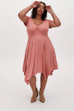 Plus Size Pearl Pink Women's Dresses,Stretch Satin Mid-Calf Mother Of The Bride Dresses nmo-703