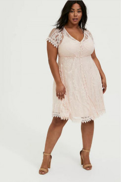 Plus Size Pink Lace Mother Of The Bride Dresses,Sweetheart Knee-Length Women's Dresses nmo-715