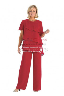 Red chiffon mother of the birde pant suits Multilayer for wedding nmo-198