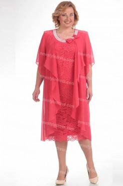 Plus Size Watermelon Mother Of The Bride Dress Mid-Calf Neckline Women's Dresses nmo-726-3