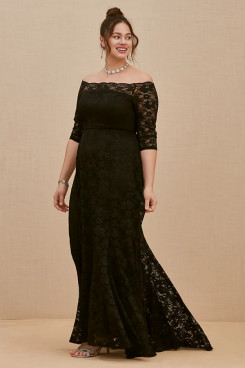 Plus Size Women's Dresses, Black Lace Mother Of The Bride Dresses nmo-708