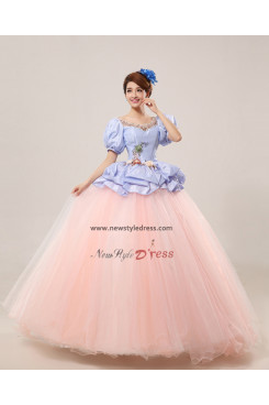 puff sleeve New Style Ball Gown Handmade flower Quinceanera Dresses Princess Discount nq-009