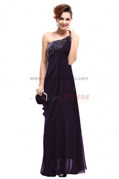 purple One Shoulder fashion Chiffon Mother Of the Dresses np-0201