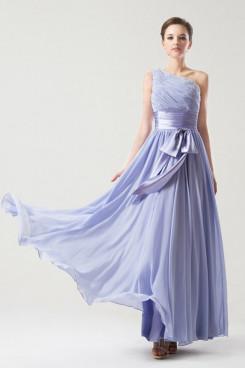 One Shoulder Belt beading purple blue Chiffon prom Dresses np-0259