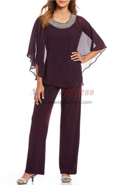 Purple Chiffon Beaded Neck Poncho pant suit for Mother nmo-383