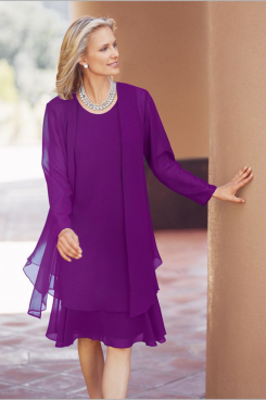 Purple Chiffon Knee-Length outfit for mother nmo-475