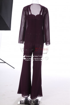 Purple hand beading Chiffon Mother of the bride pant suits Flare pants MT001705