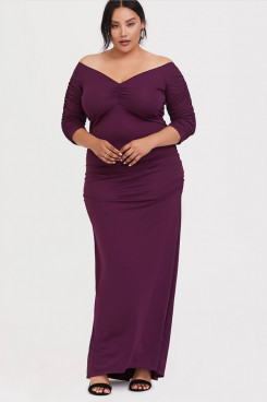 Purple Plus Size Women's Dresses, Fashion Mother Of The Bride Dresses nmo-709