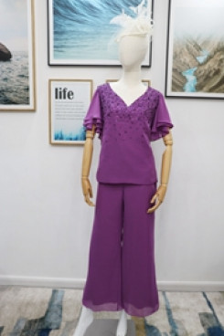 Purple Two piece hand beading Mother of the bride pantsuits dresses nmo-613