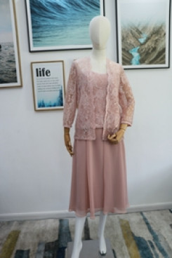 Real pic Three piece Mother of the bride dress pink outfit nmo-623