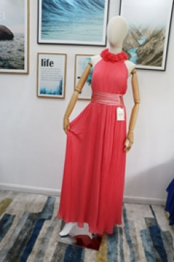 Real pic Watermelon chiffon Bridesmaids Jumpsuit Halter Dresses Accordion pleats nmo-621