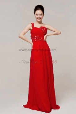 red Chiffon One Shoulder Empire Glass Drill evening dresses