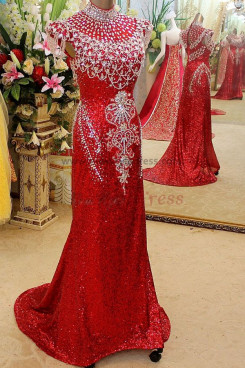 red High Collar Luxurious Above The Waist Crystal Sequins prom Dresses np-0123