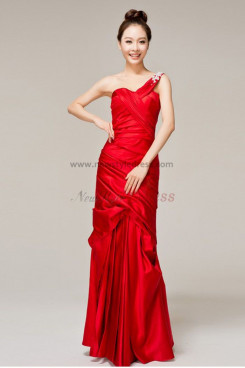 red Satin Ruched One Shoulder Sheath Unique prom dresses