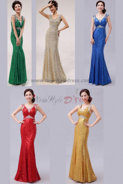 red Silver Gold Royal Blue Green 2014 New Arrival Sheath Sequins Vest Prom Dresses np-0262