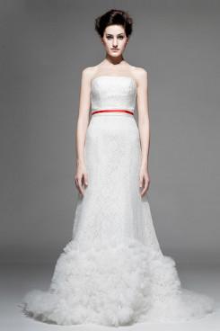 Red Belt Hot Sale Lace Chapel Train Appliques Wedding Dresses nw-0219