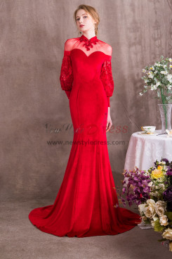 Red Court Train Prom dresses With puff sleeve Free Shipping