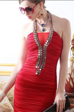 Red Halter Sheath Sexy Crystal short Unique prom dress nm-0230