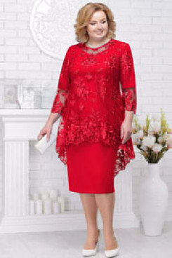 Red Lace Mother of the bride dresses Plus size women's outfits  nmo-582