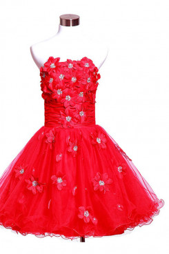 Red Ruffles Tiered Handmade flower and beading Above Knee Organza Gorgeous Homecoming Dresses nm-0088