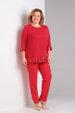 Red 2PC Mother of the Bride Pant Suits With Sequins nmo-721