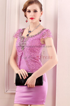 Rose red Sheath Above Knee Elegant Beading Sexy Mother Of the Dresses nm-0233