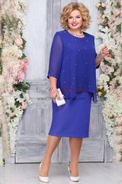 Royal Blue Chiffon Mother of the Bride Dress Plus Size Knee-Length Women Dresses nmo-762-4